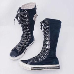 Converse Kid's Knee-High Sneakers Black/Silver